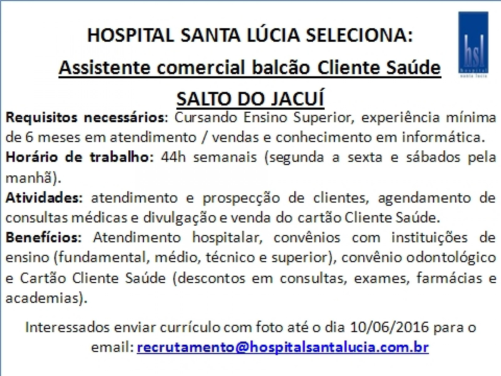 Assistente Comercial - Salto do Jacuí