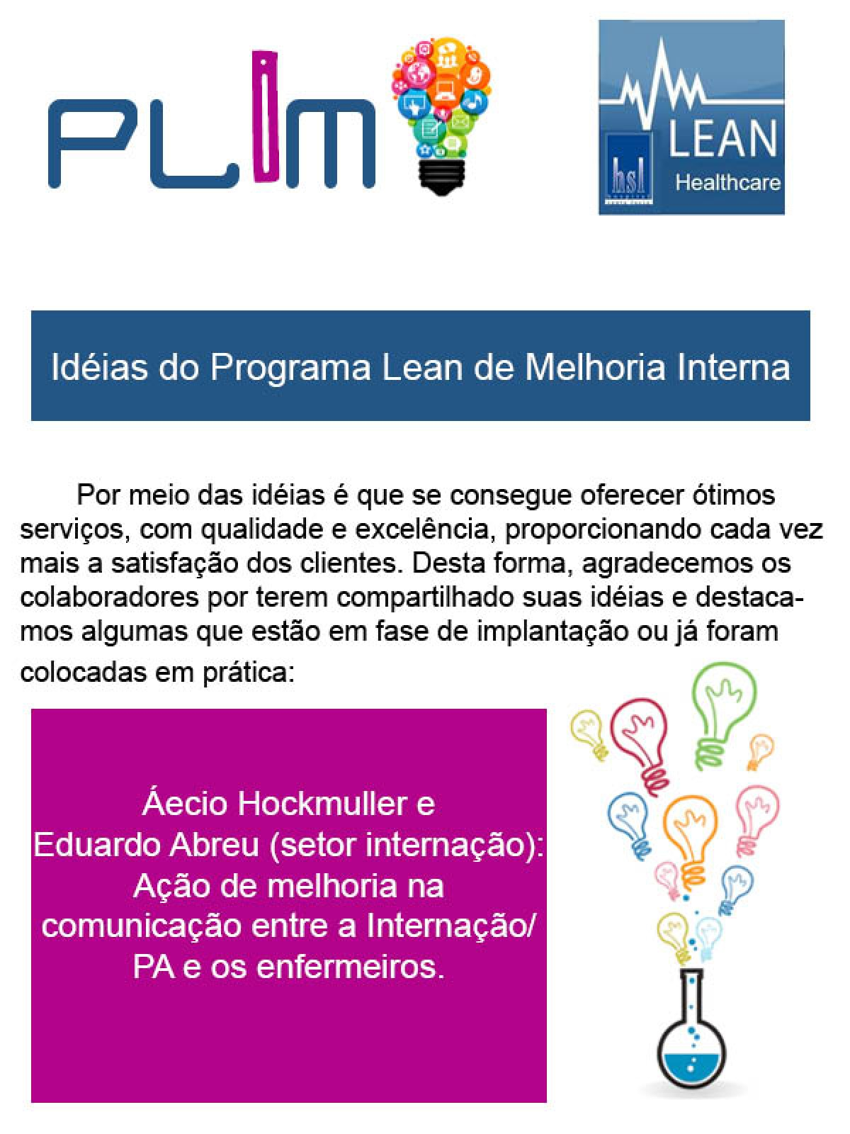 Idéias do Programa Lean de Melhoria Interna 3