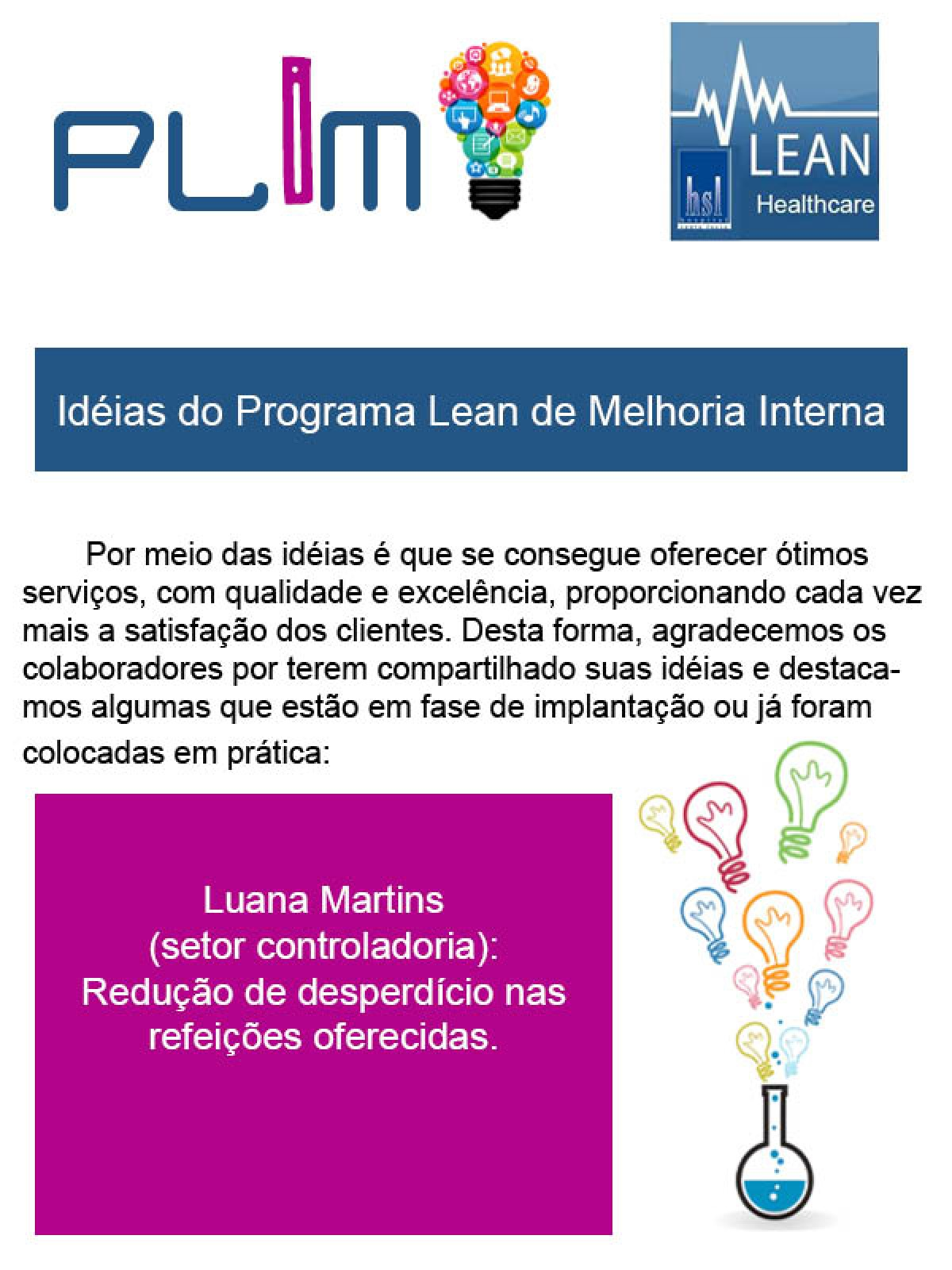 Idéias do Programa Lean de Melhoria Interna 7
