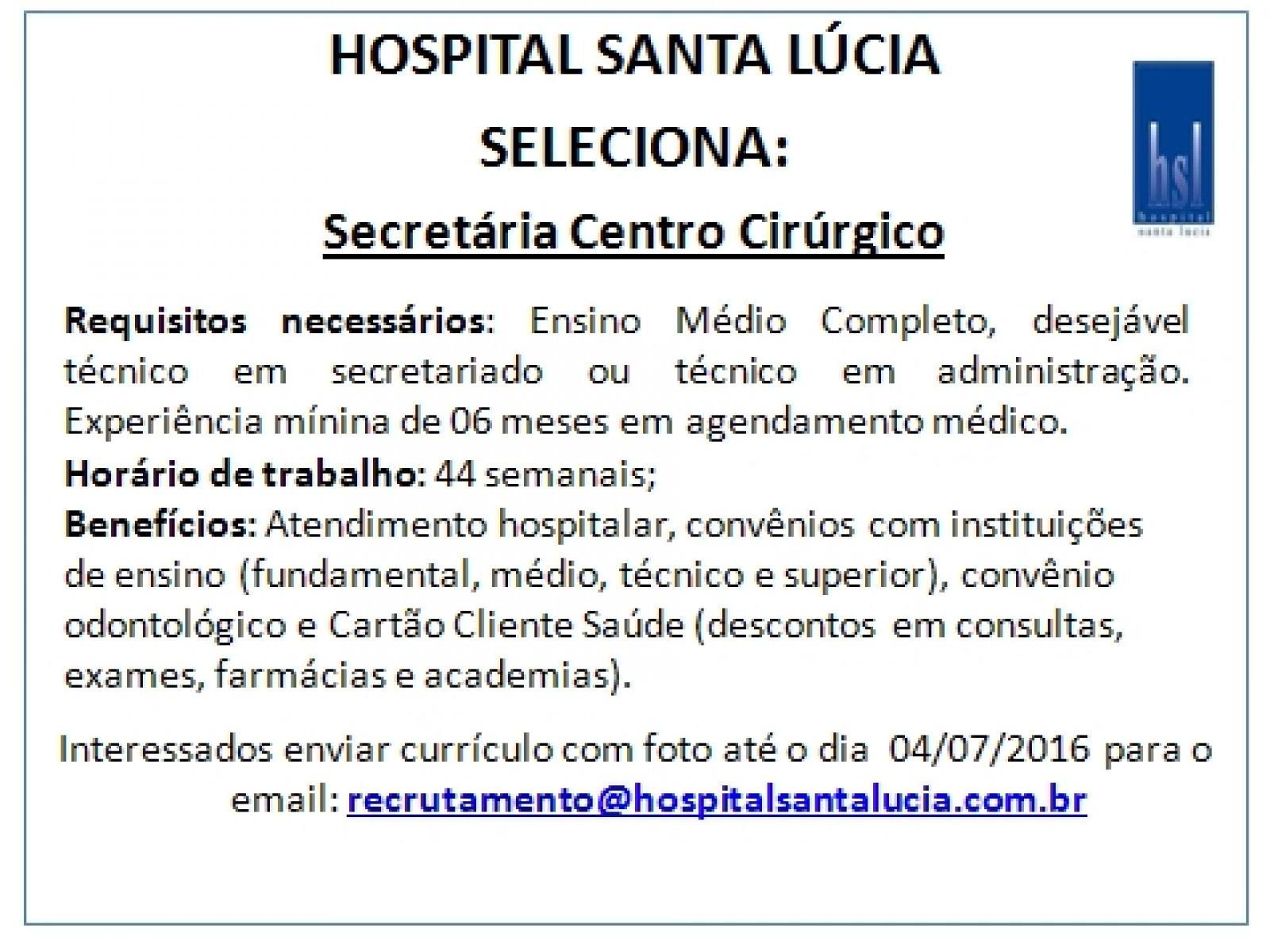 Secretária do Centro Cirúrgico