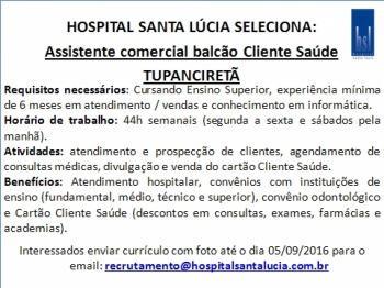 Oportunidade em Tupanciretã - Assistente Comercial Cliente Saúde