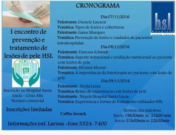 I Encontro de Prevenção e Treinamento de Lesões de Pele do HSL