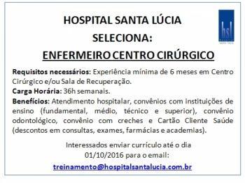 Oportunidade de trabalho - Enfermeira(o) de Centro Cirúrgico